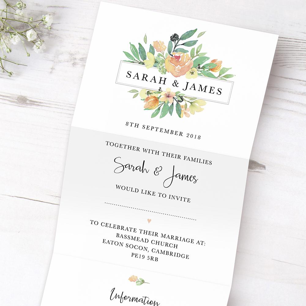 'Bella' Folded Invite Sample