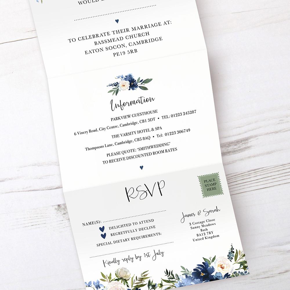 'Blue Velvet' Folded Invitation