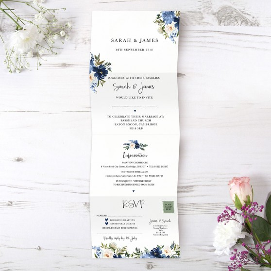 'Blue Velvet' Folded Invitation
