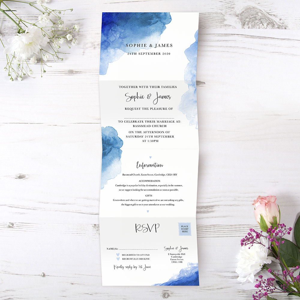 'Blue Watercolour Splash' Folded Invite