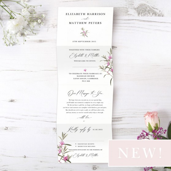 'Pink Botanical' Folded Invitation Sample