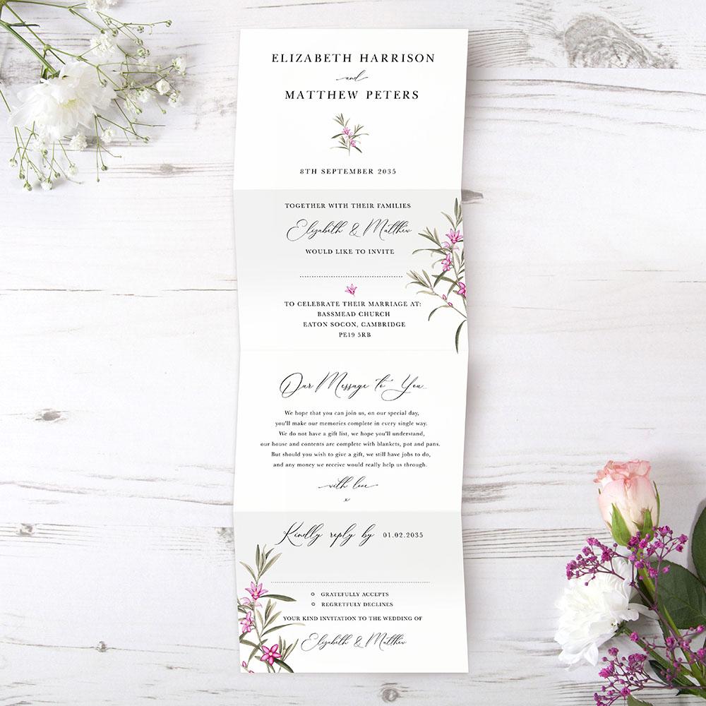 'Pink Botanical' Folded Invitation