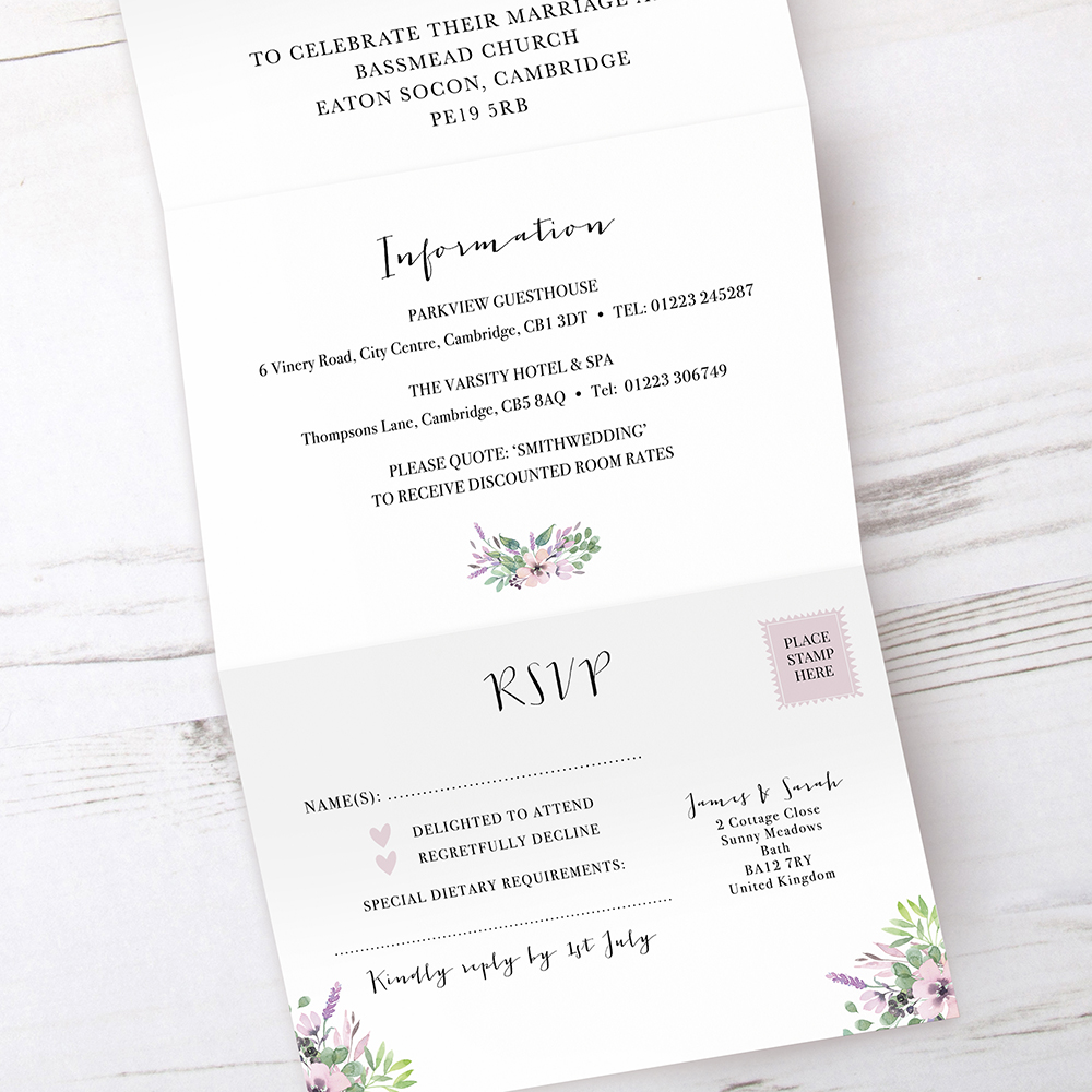 'Chloe' Folded Invite Sample