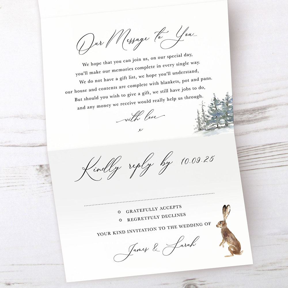 'Christmas Hare' Folded Invite