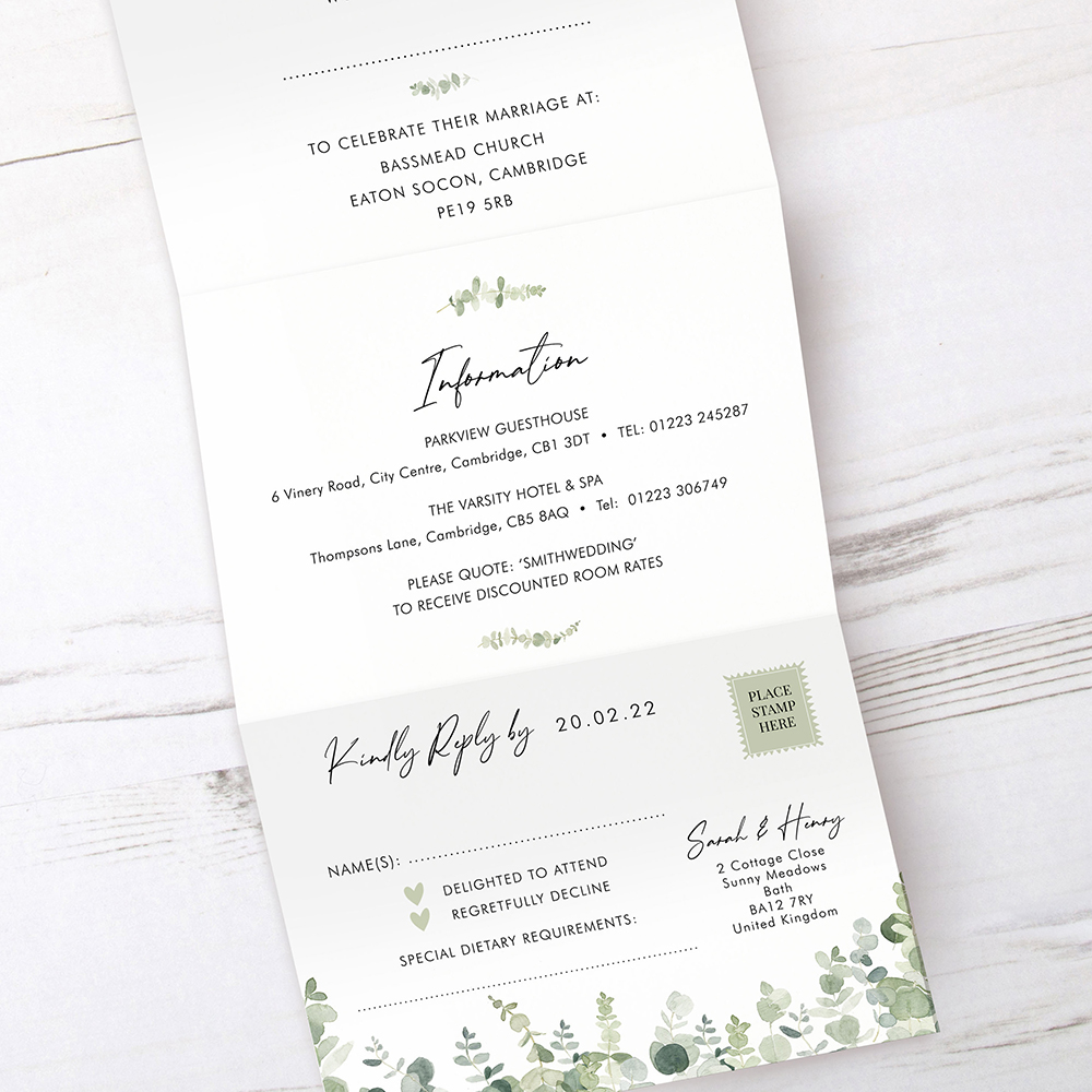'Classic Eucalyptus' Folded Invitation Sample