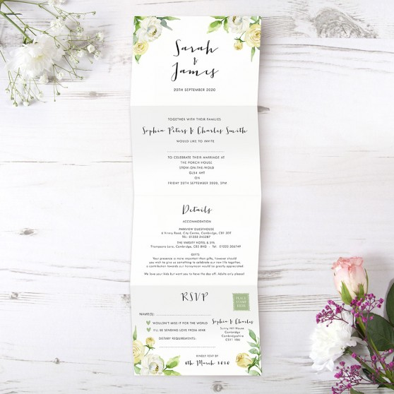 'Daphne' Folded Wedding Invitation Sample