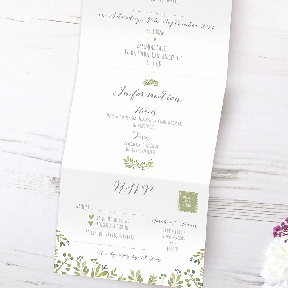 'Green Floral Watercolour' Folded Invite Sample