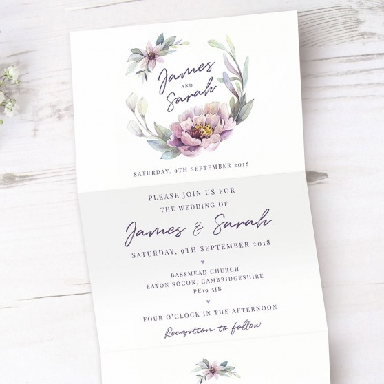 'Henrietta Dawn' Folded Invite Sample