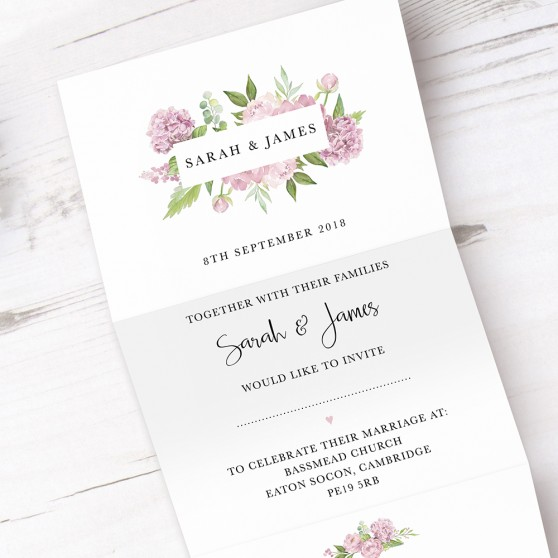 'Hydrangea' Folded Invite Sample