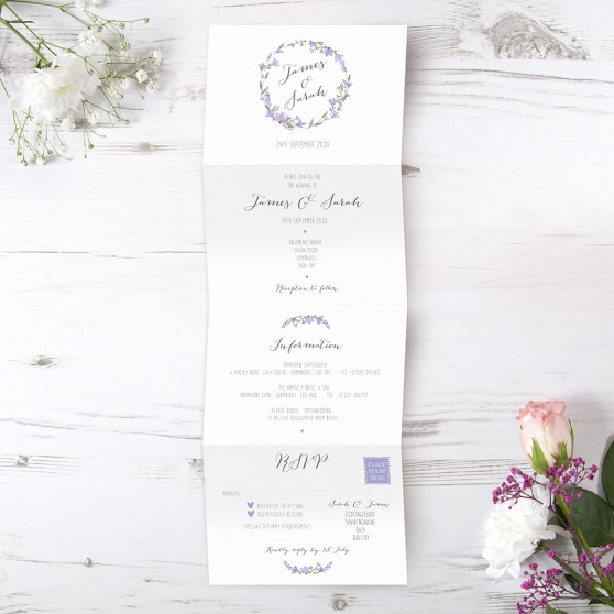 'Lavender Floral' Folded Invitation