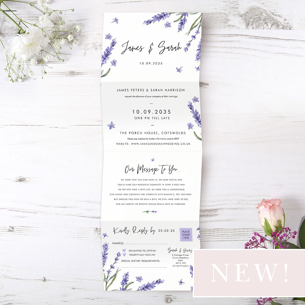 'Lavender L12' Folded Wedding Invitation