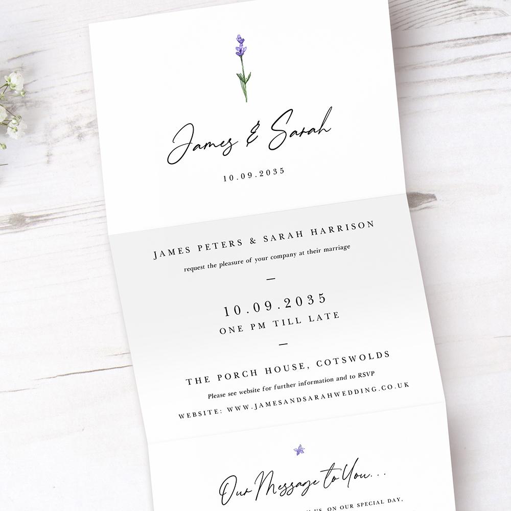 'Lavender' Folded Invitation Sample