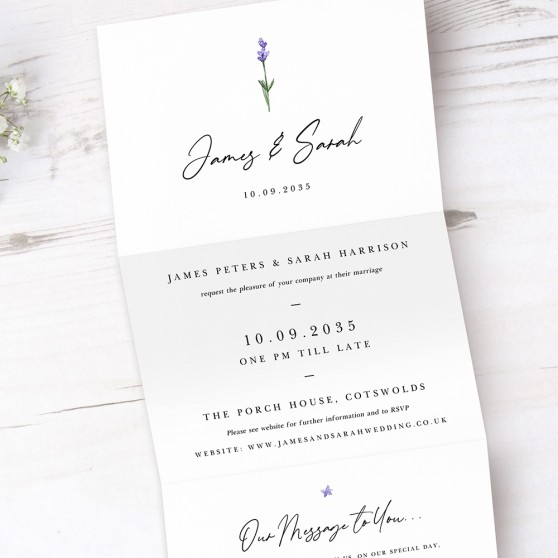 'Lavender' Folded Invitation Sample