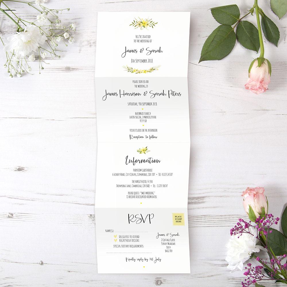 'Yellow Multi Floral Watercolour' Folded Invite