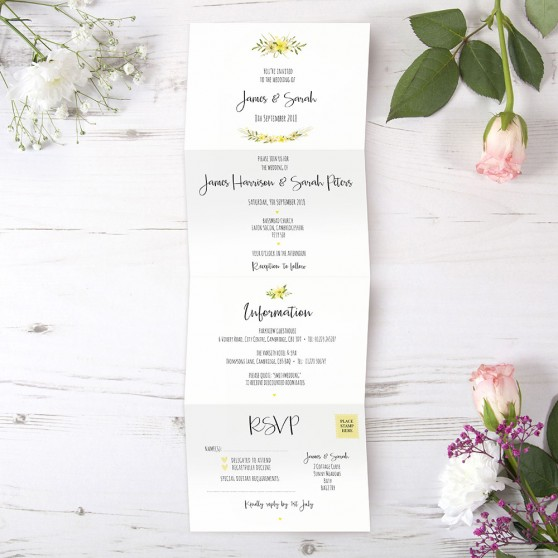 'Yellow Multi Floral Watercolour' Folded Invite Sample