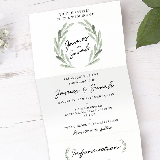'Olive' Folded Invite Sample