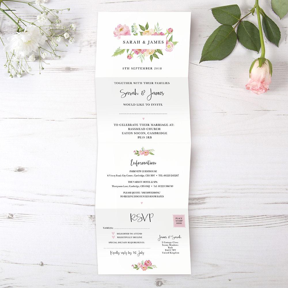 'Peony' Folded Invite Sample