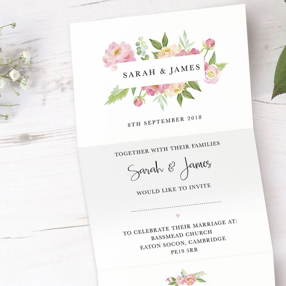 'Peony' Folded Invite Sample