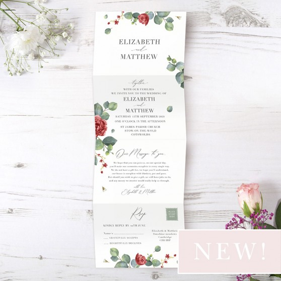 'Red Eucalyptus' Folded Wedding Invitation