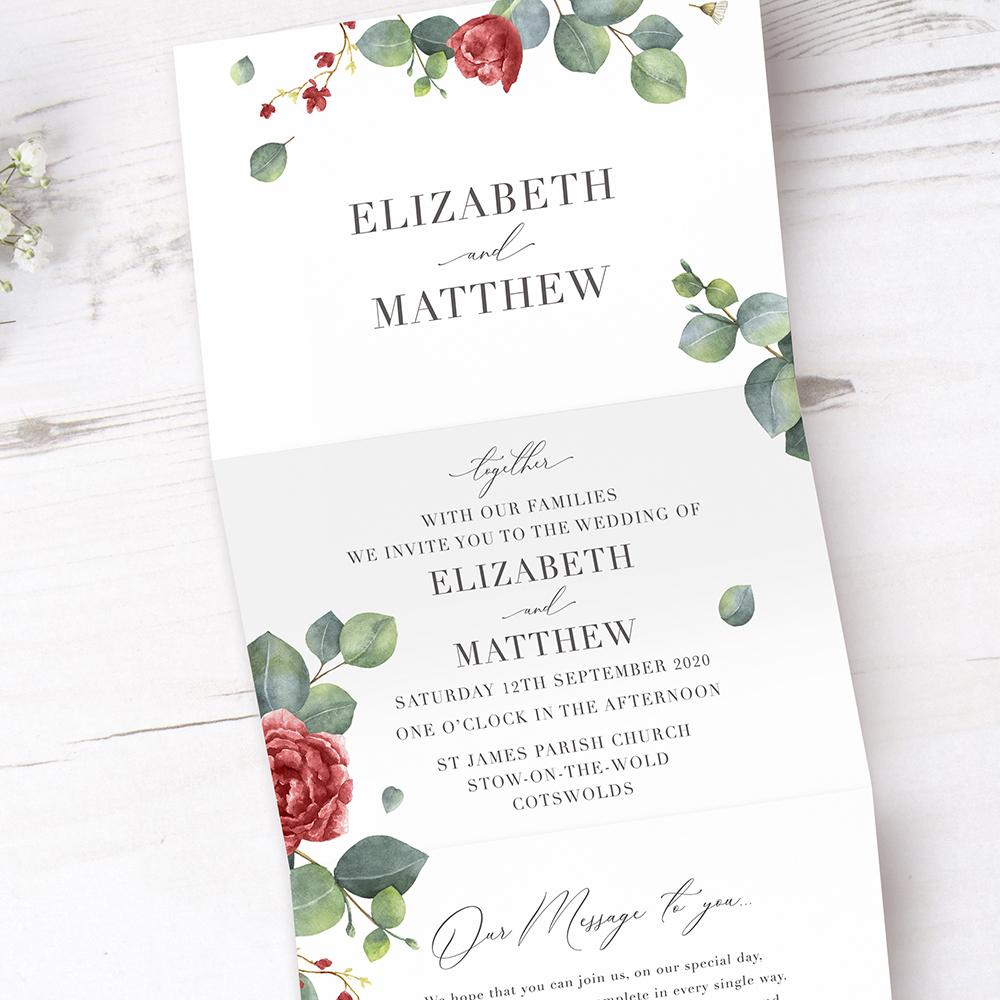 'Red Eucalyptus' Folded Wedding Invitation