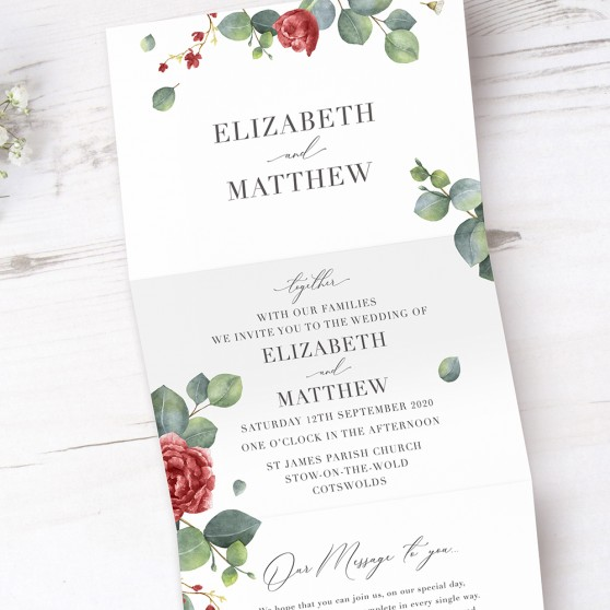 'Red Eucalyptus' Folded Wedding Invitation Sample