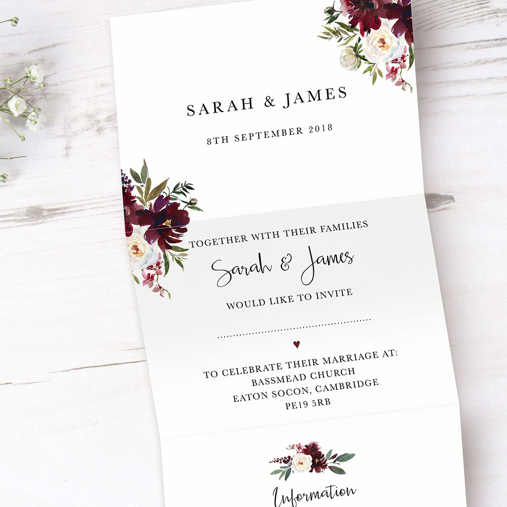 'Red Velvet' Folded Invite