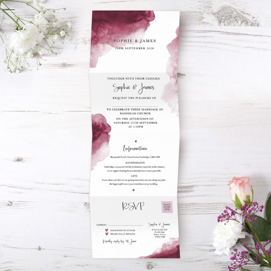 'Red Watercolour Splash' Folded Invite Sample