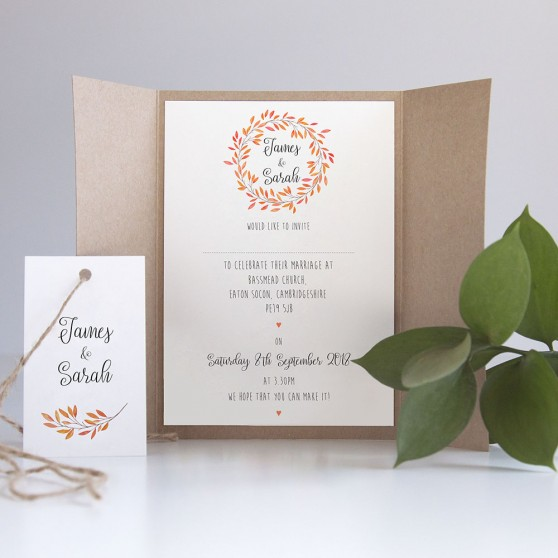 'Autumn Orange' Gatefold Wedding Invitation