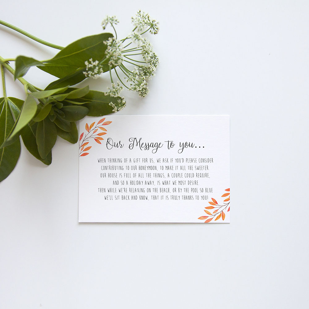 'Autumn Orange' Gatefold Wedding Invitation Sample