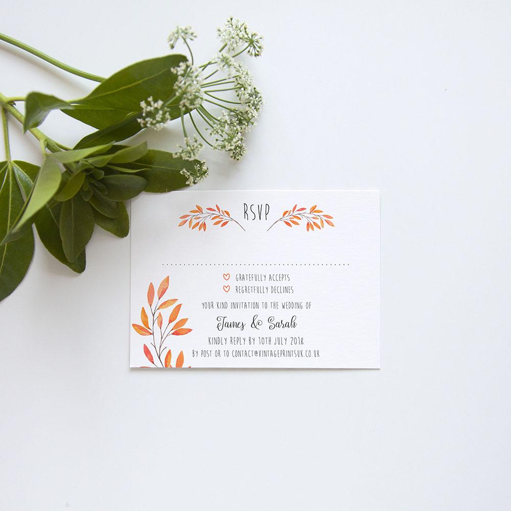 'Autumn Orange' Gatefold Invite Sample