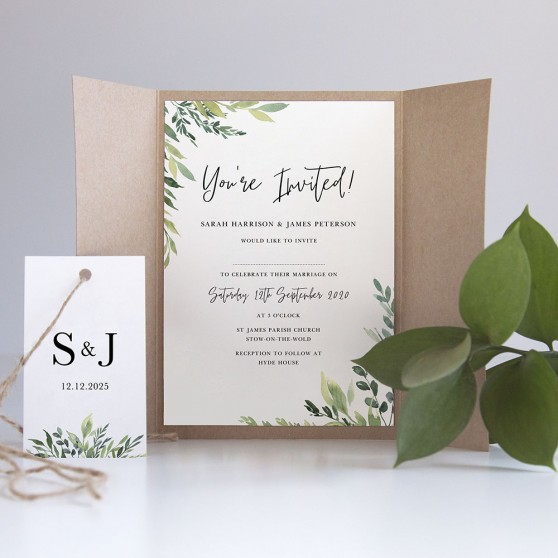 'Back to Nature' Gatefold Wedding Invitation Sample