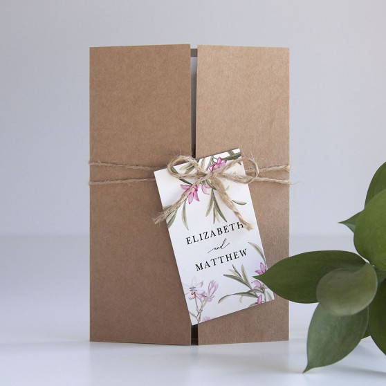 'Pink Botanical' Gatefold Invite