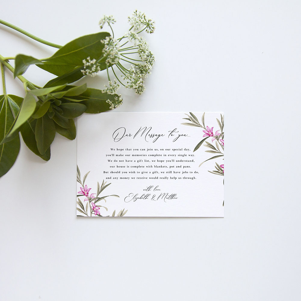 'Pink Botanical' Gatefold Invite Sample