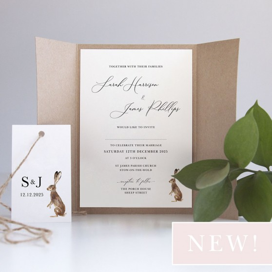 'Christmas Hare' Gatefold Invite