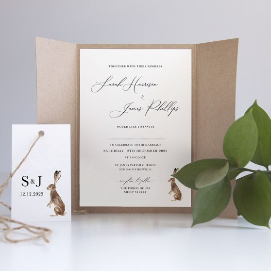 'Christmas Hare' Gatefold Invite Sample