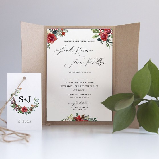 'Christmas Holly' Gatefold Invite Sample