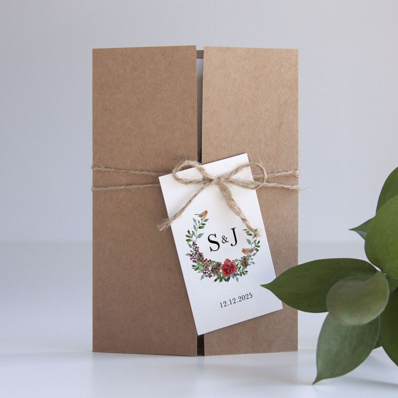 'Christmas Holly' Gatefold Invite