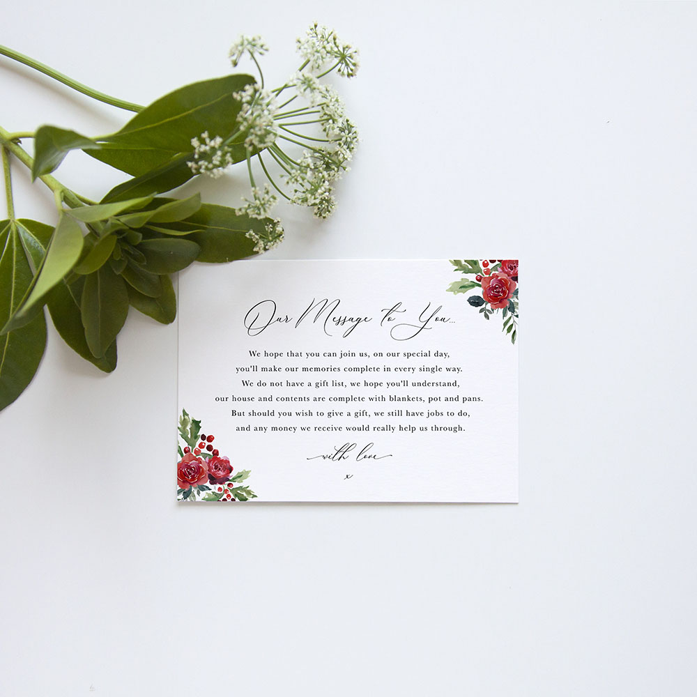 'Christmas Holly' Gatefold Invite Sample