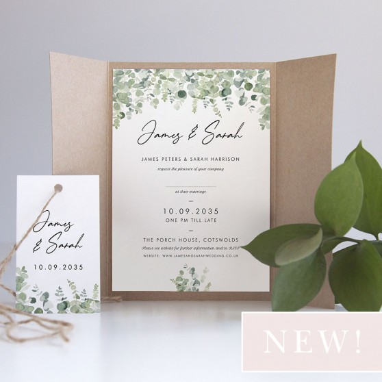 'Classic Eucalyptus' Gatefold Invite Sample