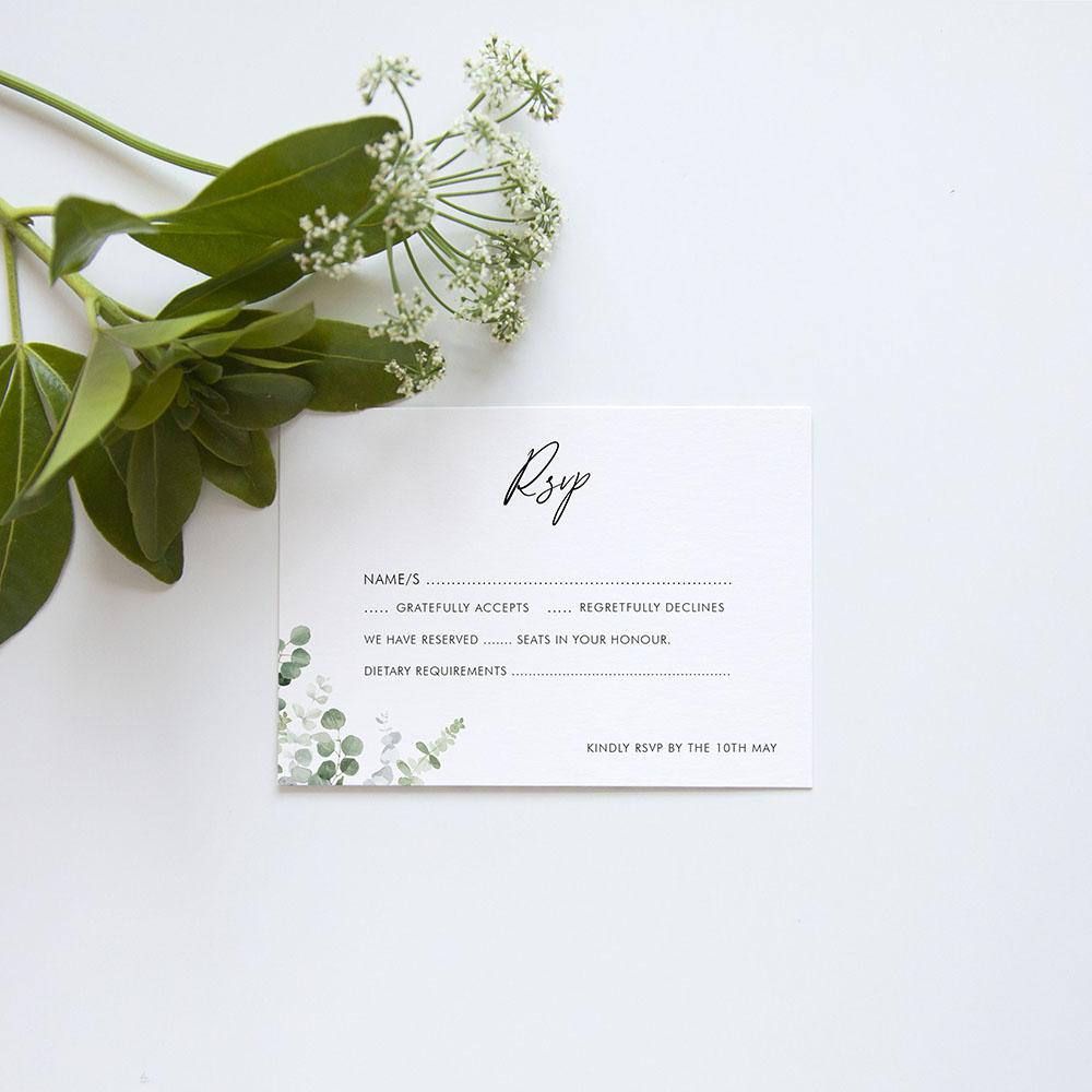 'Classic Eucalyptus' Gatefold Invite Sample