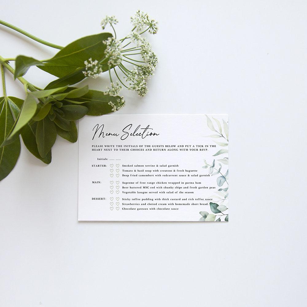 'Dreamy Eucalyptus' Gatefold Wedding Invitation Sample