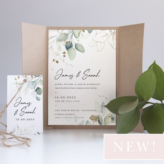 'Green & Gold Eucalyptus' Gatefold Wedding Invitation Sample