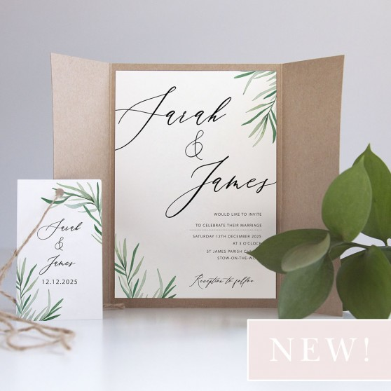 'Willow Eucalyptus' Gatefold Invite Sample