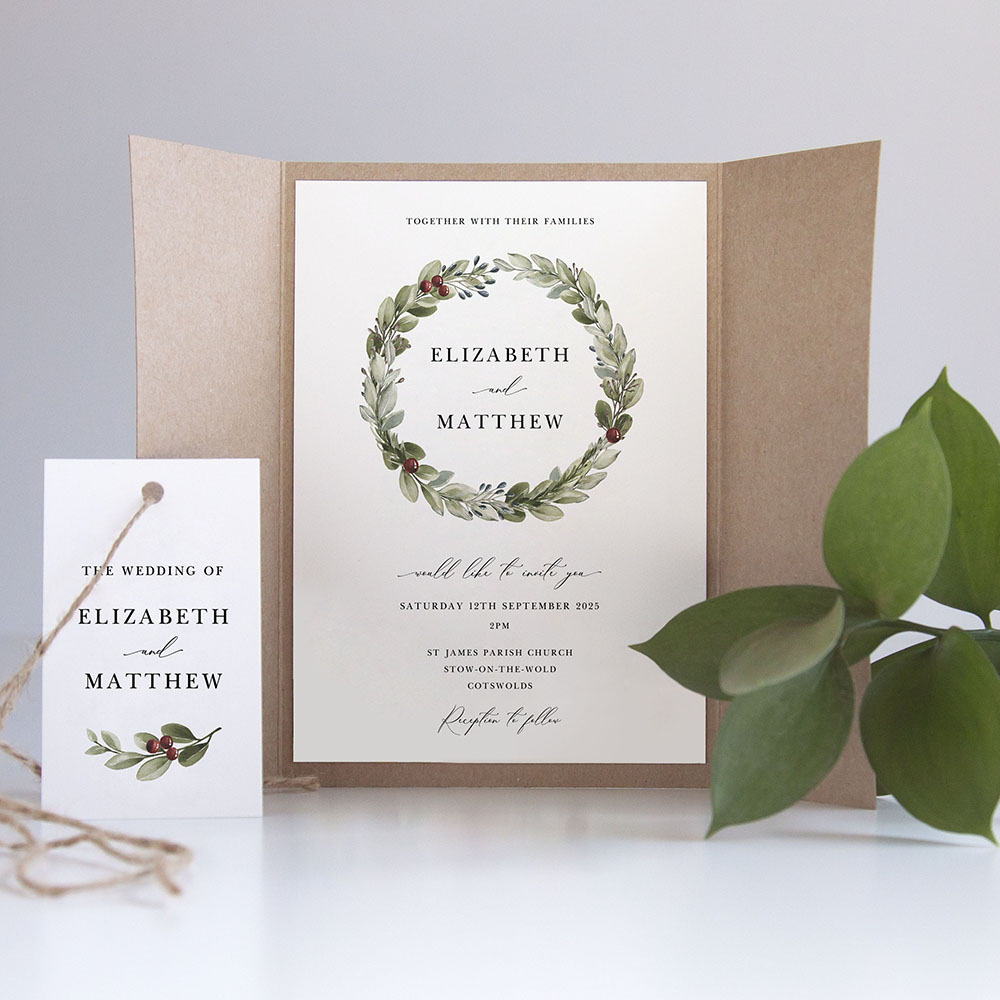 'Winter Berries' Gatefold Invite