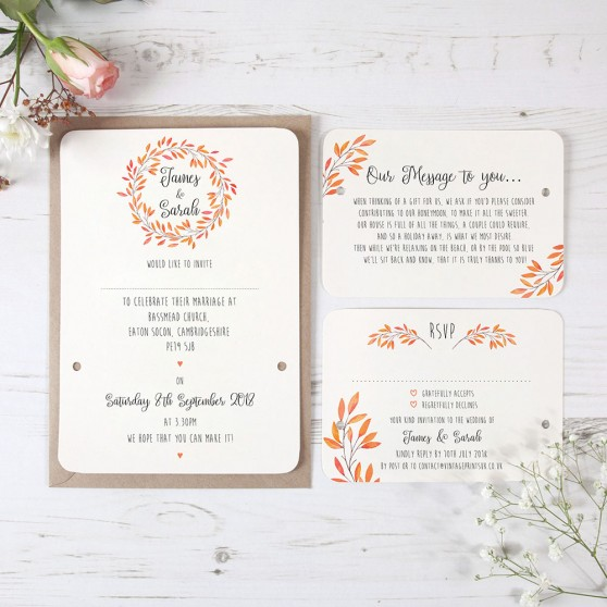 'Autumn Orange' Hole-punched Invite Sample