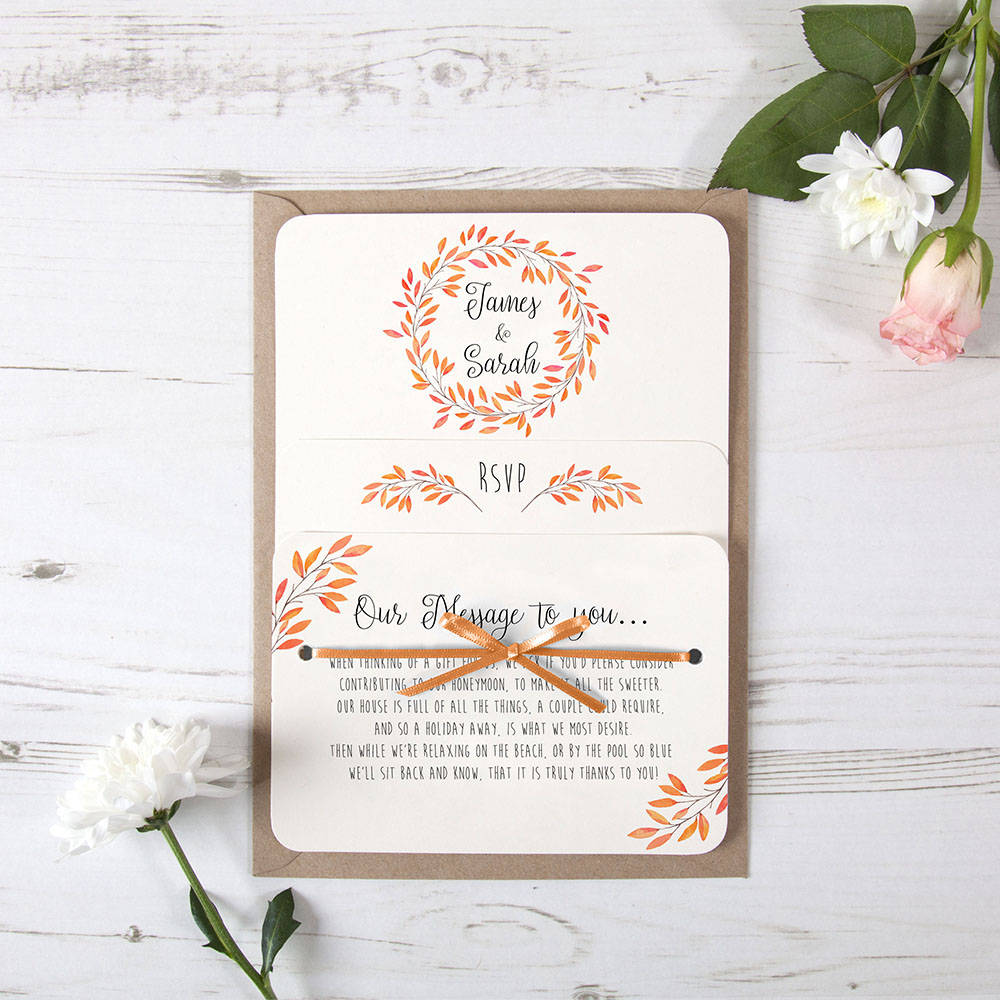 'Autumn Orange' Hole-punched Invite