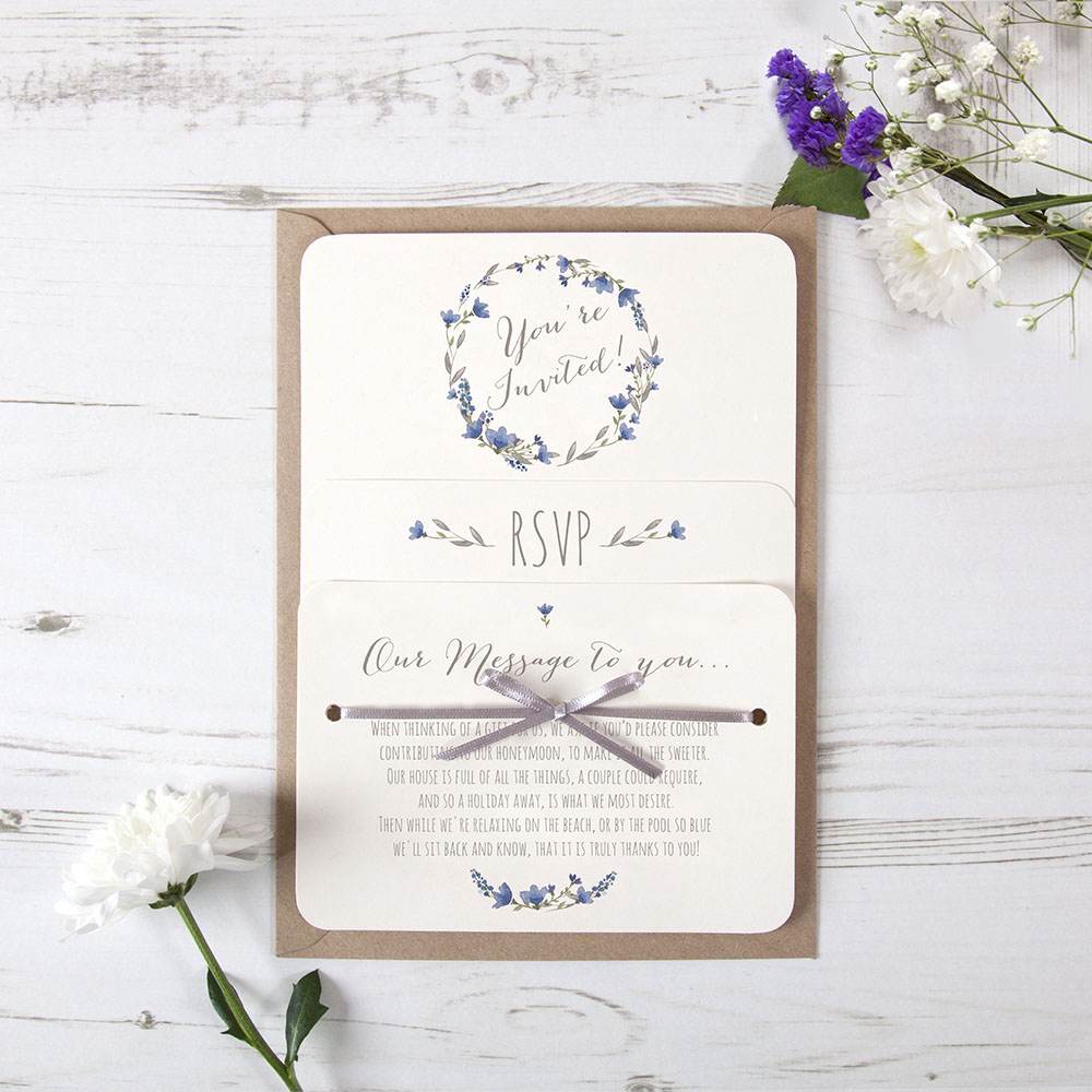 'Blue Floral Watercolour' Hole-punched Invite Sample