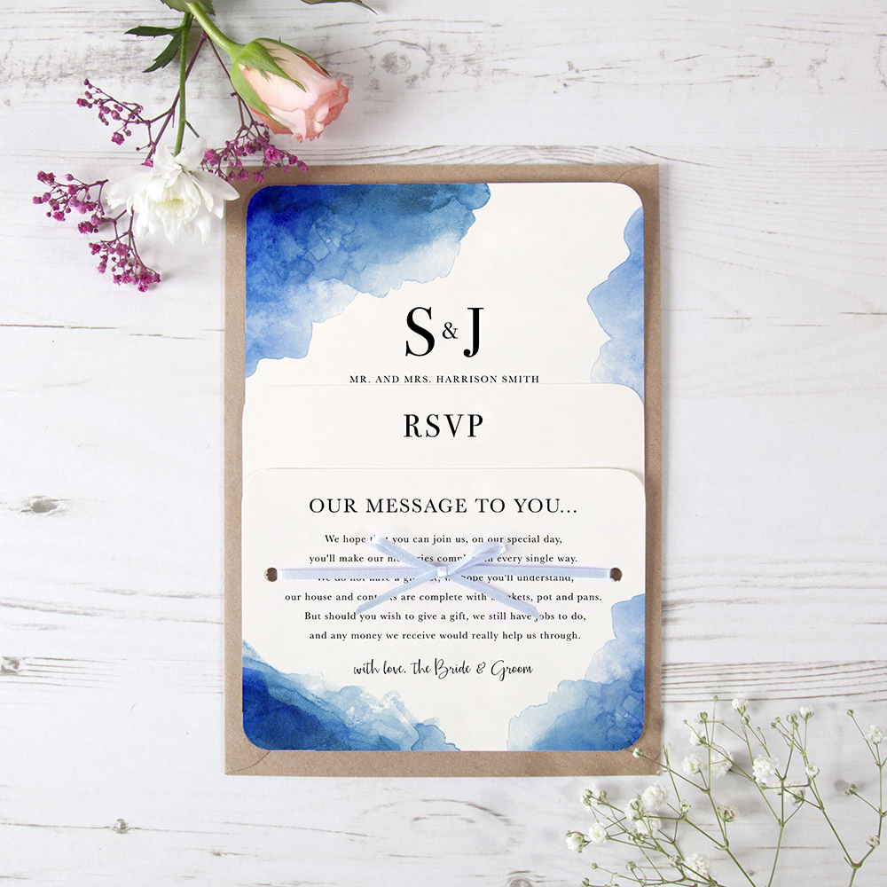 'Blue Watercolour Splash' Hole-punched Invite