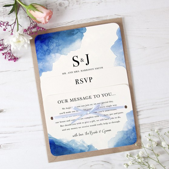 'Blue Watercolour Splash' Hole-punched Invite Sample