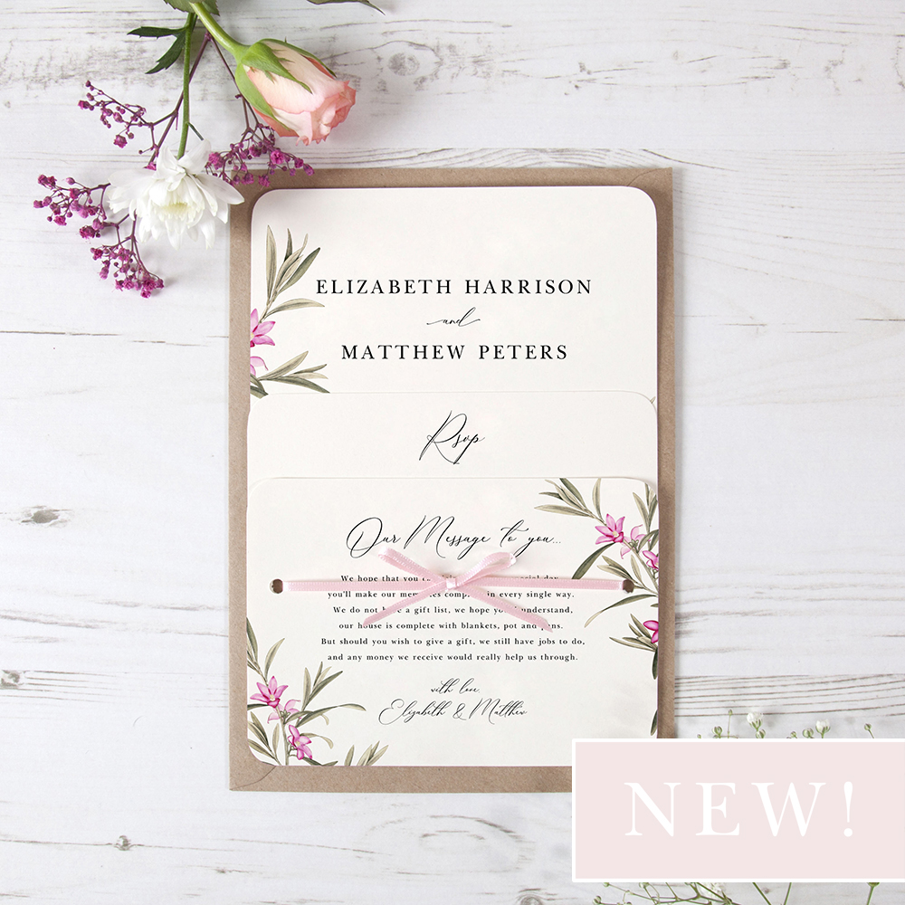 'Pink Botanical' Hole-punched Invite